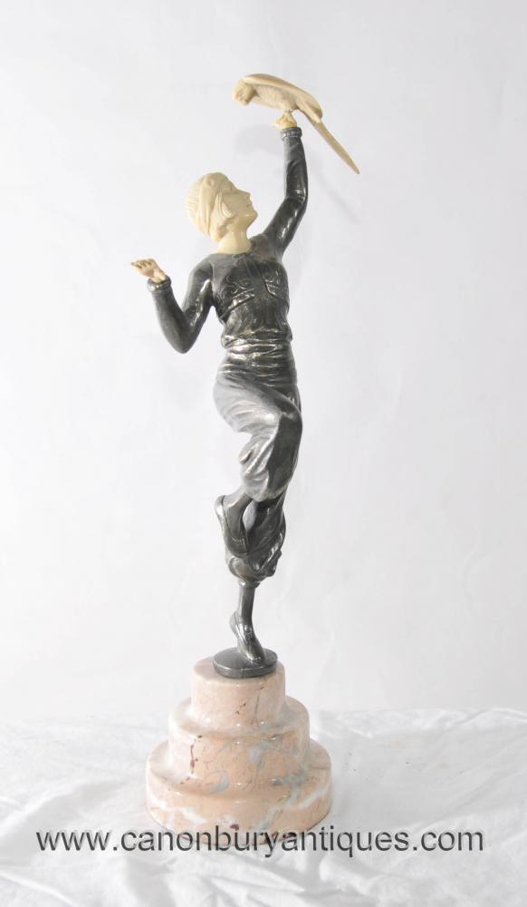 Art Deco Pewter White Metal Female Figurine Dancer Parrot Girl