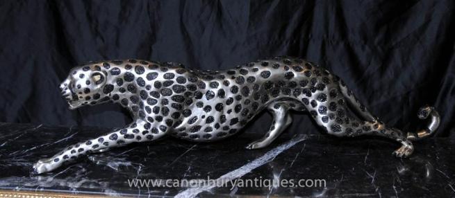 Art Deco Silver Bronze Cheetah Statue Cats Leopard Feline