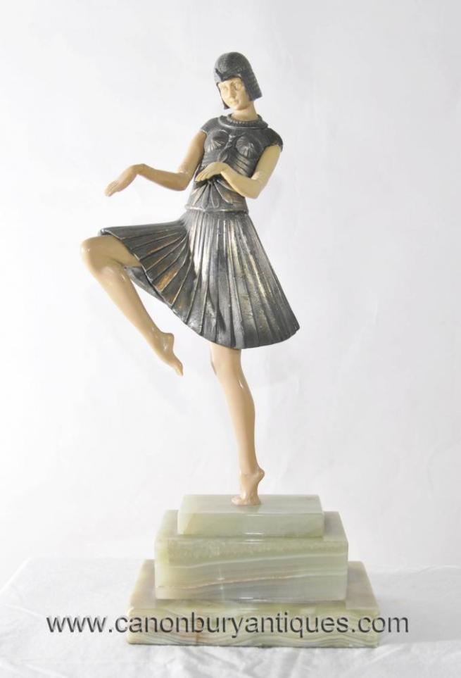 Art Deco Snake Charmer Dancer Statue Figurine