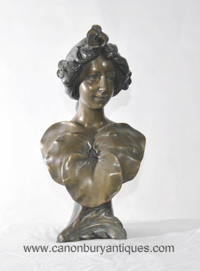 Art Nouveau Bronze Bust Female Signed S Ranier
