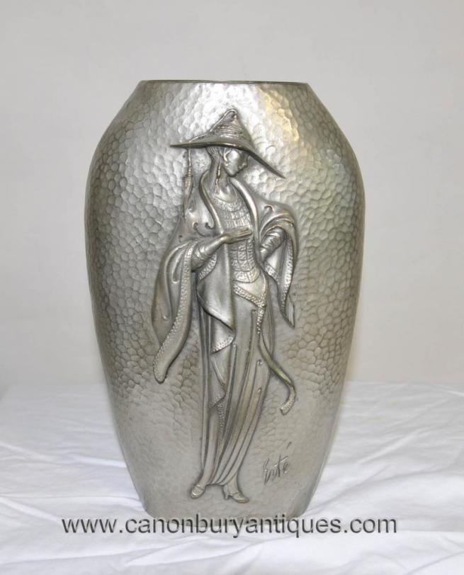 Art Nouveau Silver Bronze Female Figurine Urn by Erte