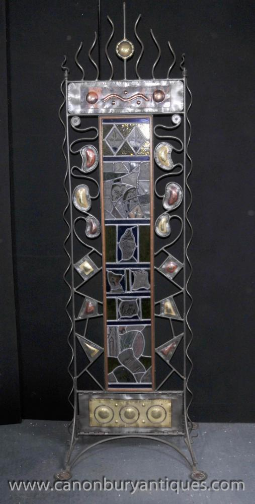 Art Nouveau Stained Glass Steel Screen Circa 1930