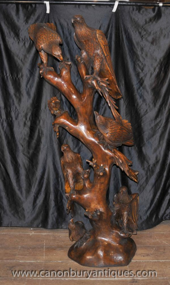 Big Hand Carved Black Forest Eagles Sculpture Statue Birds Eagle
