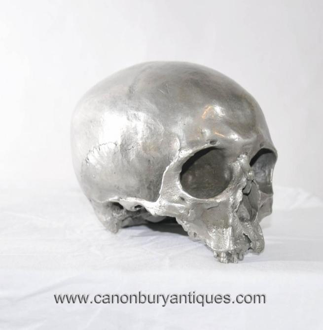 Bronze Casting Human Skull Gothic Art Hamlet Silver Patina Vanitas