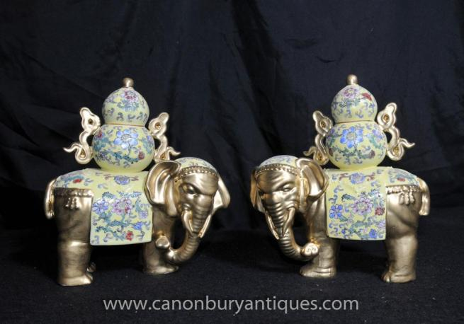 Chinese Famille Rose Porcelain Elephant Statue China Ceramic