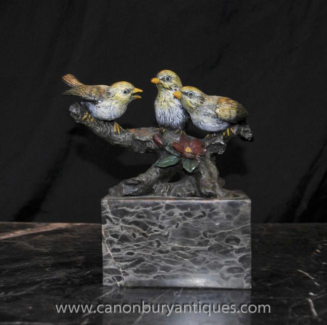 Cold Painted Trio Bronze Birds Viennese Bergmann