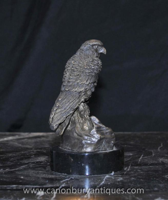 English Bronze Kestrel Hawk Staue Bird of Prey Casting