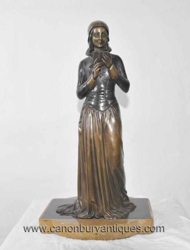 French Art Deco Bronze Reading Girl Statue Signed Menneville