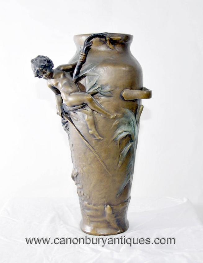 French Art Nouveau Cherub Vase Signed Moreau Urn