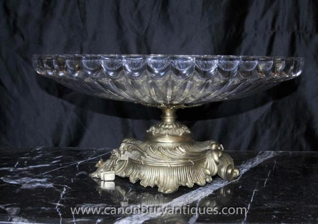 French Empire Crystal Glass Bowl on Stand Tureen Dish