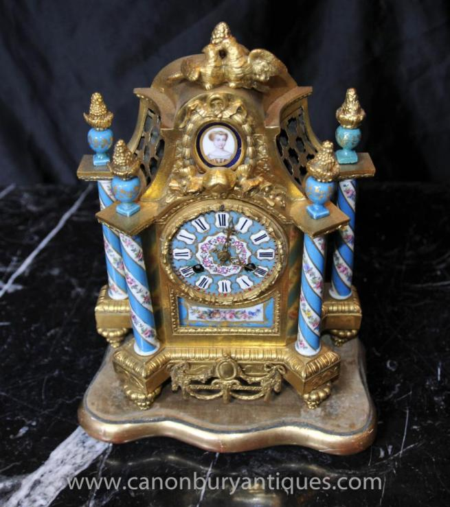French Ormolu Antique Mantle Clock Sevres Porcelain Clocks