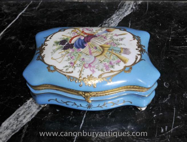 French Sevres Porcelain Jewellery Box Floral Trinket Case