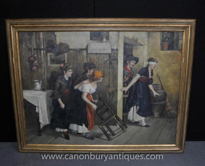 Large Spanish Oil Painting Blindfold Rustic Portrait Scene Art