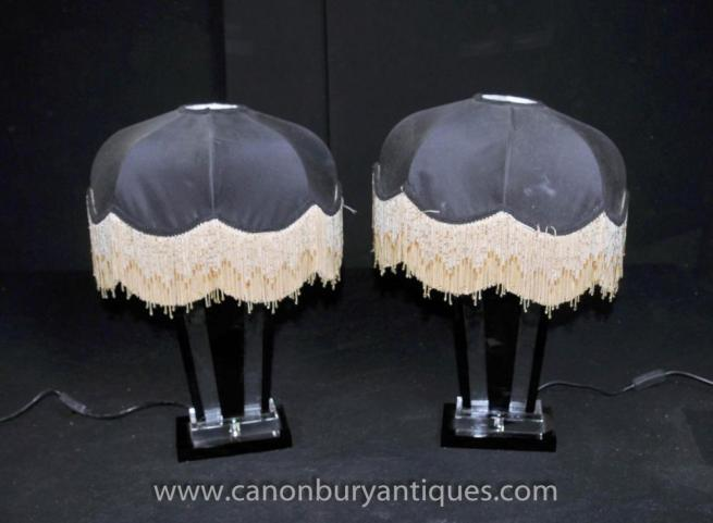 Pair Art Deco Glass Table Lamps Lights Shades