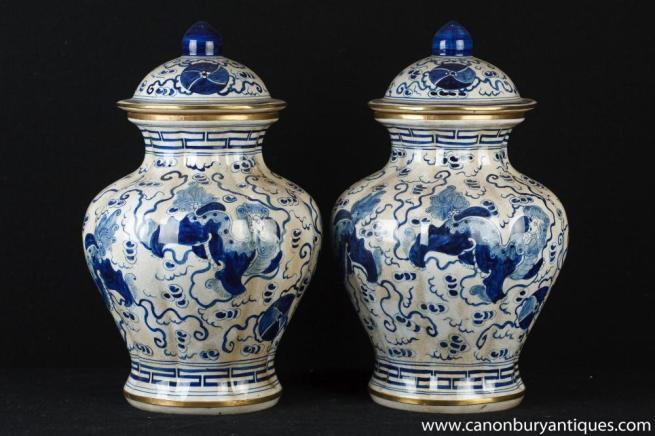 Pair Blue and White Chinese Porcelain Lidden Ming Urns Vases Jars