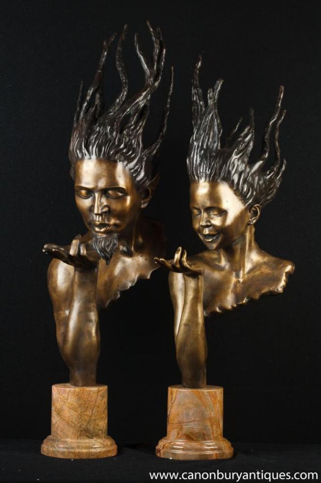 Pair Bronze Busts Signed J Prince Art Nouveau Male Female Heads