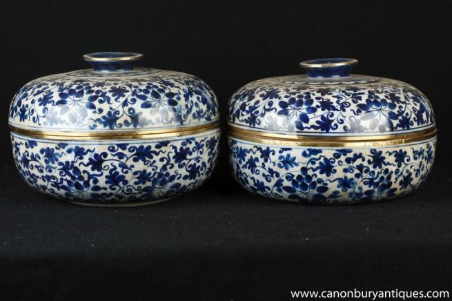Pair Chinese Celadon Porcelain Lidded Pots Urns Blue and White