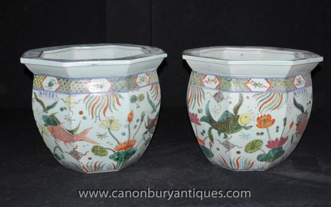 Pair Chinese Ming Porcelain Pots Planters Octagonal Urns Hand Painted