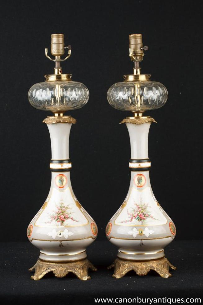 Pair French Art Nouveau Porcelain Crystal Glass Table Lamps Lights