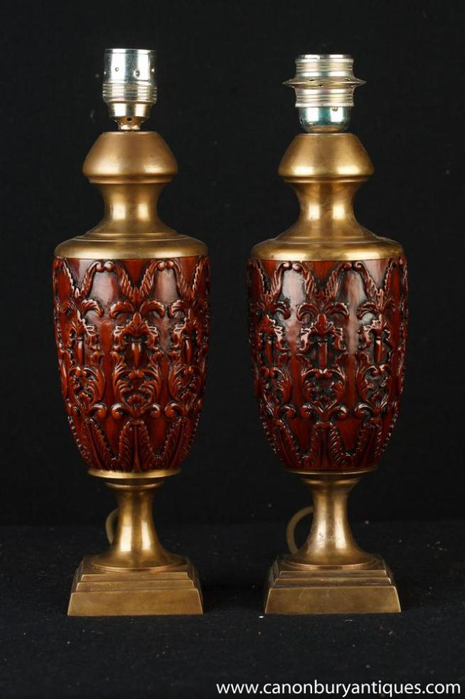 Pair French Carved Ormolu Amphora Table Lamps Lights