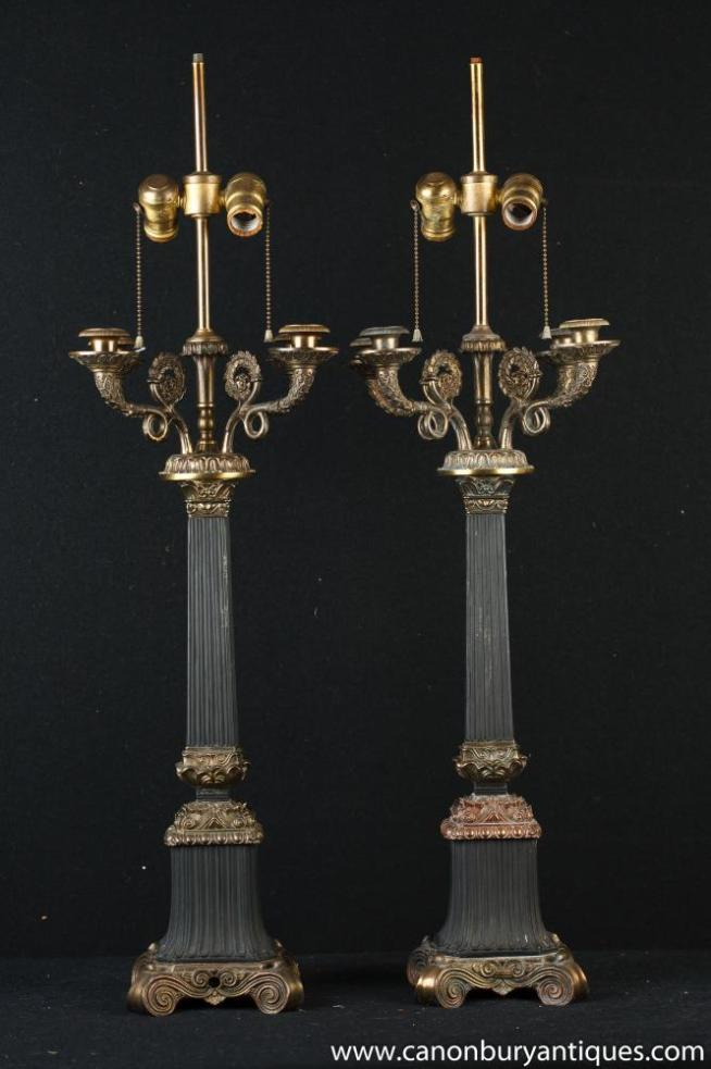 Pair French Empire Column Lamps Candelabras Ormolu Candles Table Light