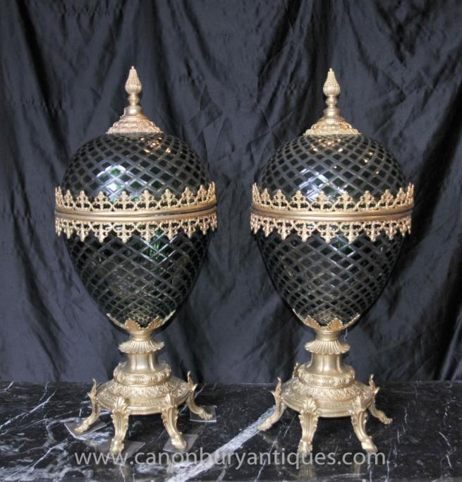Pair French Empire Green Cut Glass Egg Vases Lidded Urns