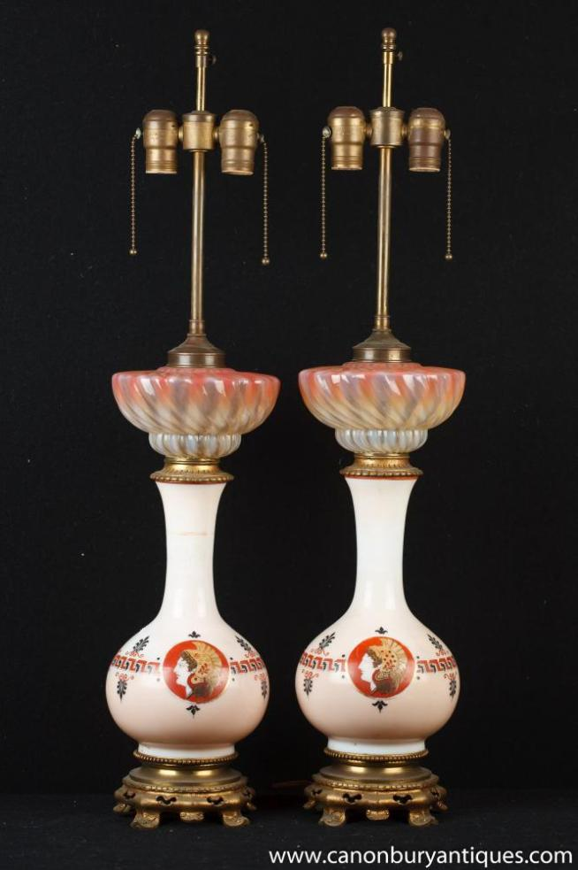 Pair French Empire Oplaline Porcelain Table Lamps Lights Urns