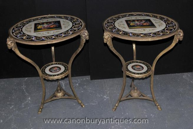 Pair French Empire Ormolu Porcelain Side Tables Rams Heads Floral