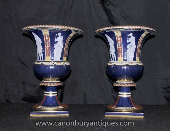 Pair Meissen Pate-sur-Pate Campana Urns Planters Roman Toga