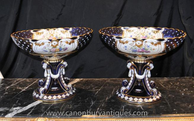 Pair Sevres Porcelain Urns on Stands Planter Tureens Lattice