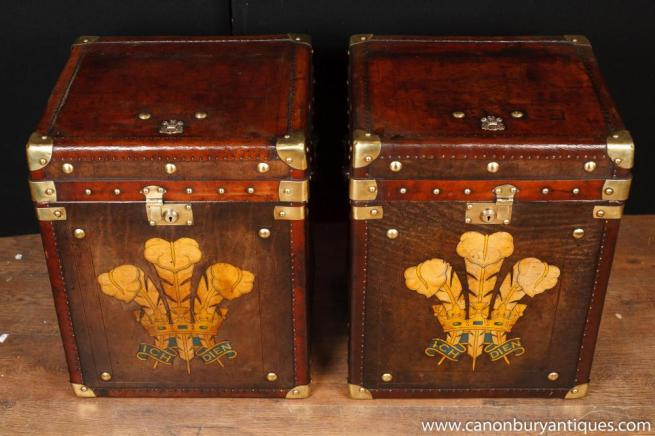 Pair Vintage Leather Steamer Trunk Luggage Boxes Tables