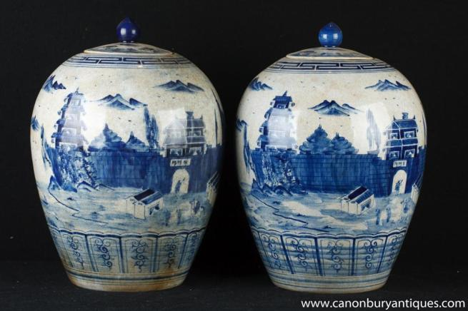 Pair Yuan Blue and White Chinese Porcelain Lidded Urns Vases