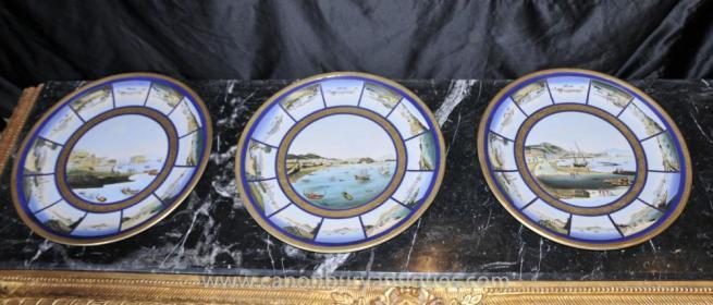 Set 3 French Limoges Porcelain Plates Maritime Scene Seascape Plaques