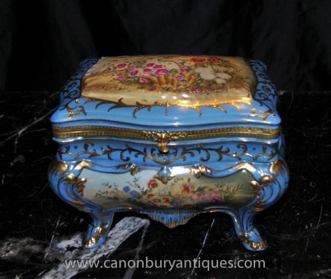 Sevres Porcelain Floral Spalsh Trinket Casket Jewellery Box