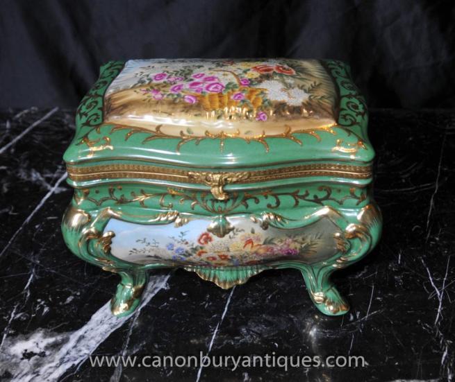 Sevres Porcelain Jewellery Box Trinket Floral Casket
