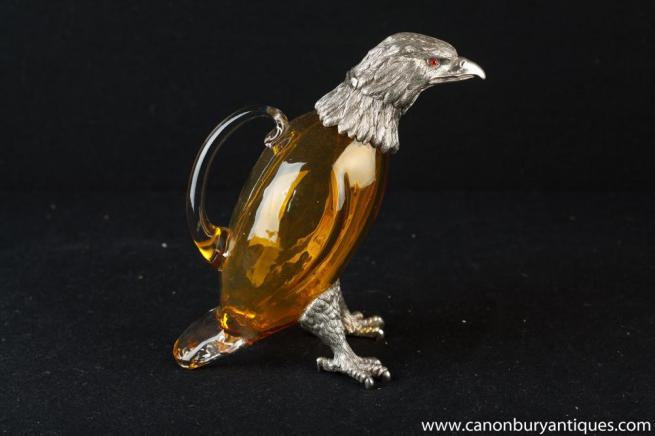 Sheffield Silver Plate Eagle Bird Jug Glass Decanter