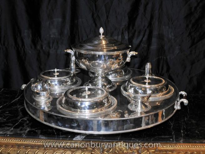Sheffield Silver Plate Lazy Susan Dumbwaiter Server Bain Marie