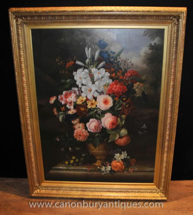Victorian Floral Spray Oil Painting Gilt Frame Still Life Art