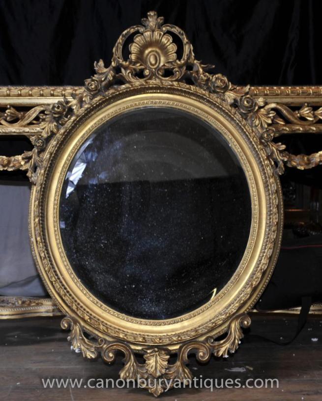 Victorian Rococo Gilt Oval Pier Mirror Glass Mirrors