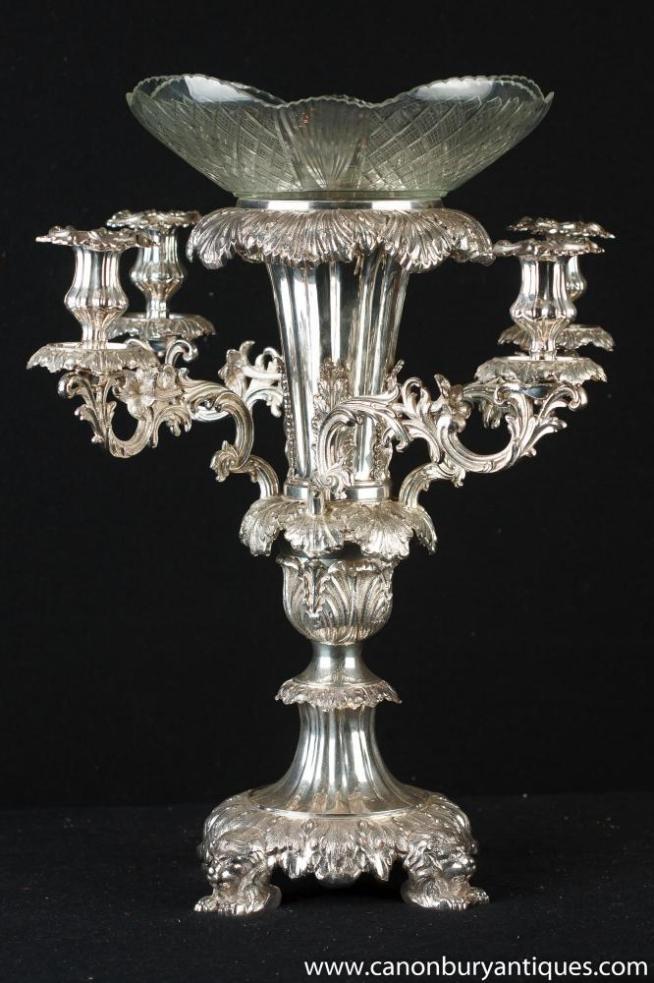Victorian Sheffield Silver Plate Epergne Centrepiece Rococo Candelabra