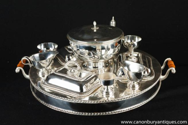 Victorian Sheffield Silver Plate Lazy Susan Dumb Waiter Dinner Service