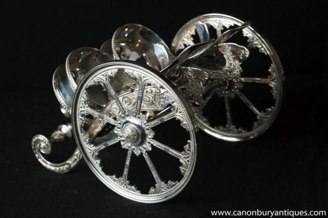 Victorian Silver Plate Double Wine Basket Pourer Chariot