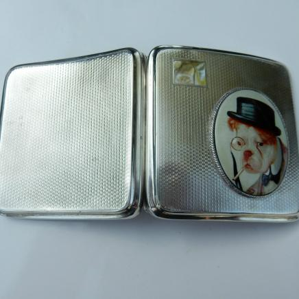 Antique HMS Silver Pug Dog Cigarette Case