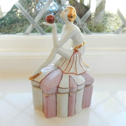 Art Deco Porcelain Lady Trinket Pot