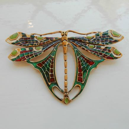 Art Nouveau Brass & Enamel Butterfly Brooch