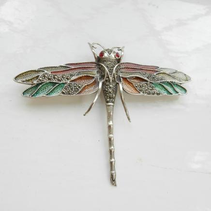 Art Nouveau Enamel Dragonfly Brooch
