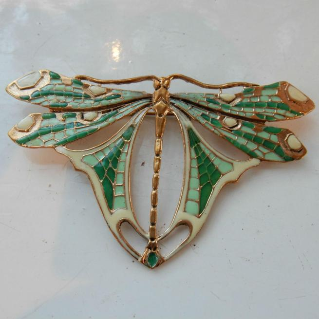 Art Nouveau Enameled Butterfly Brooch