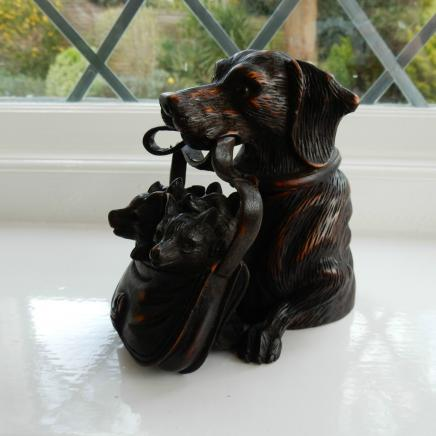 Black Forest Wood Dog with Puppies Ink Well