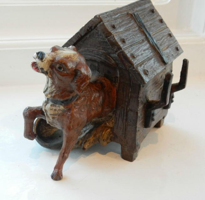 Cold Painted Bronze Dog In Kennel Ink Well