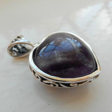 Fine Silver & Amethyst Heart Pendant